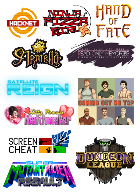Some of the cool games you can get with your pledge: Armello, Ninja Pizza Girl, Hacknet, Hand of Fate, Read Only Memories, Satellite Reign, Kitty Powers' Matchmaker, Coming Out On Top, Screencheat, Super Mutant Alien Assault and Dungeon League!