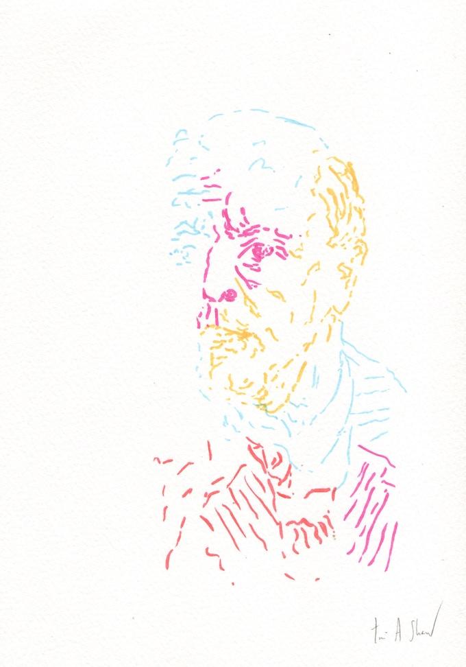 Tim A Shaw, Schönberg Portrait, 2015, 25.4 x 17.8cm, Winsor & Newton watercolour marker on watercolour paper, unframed