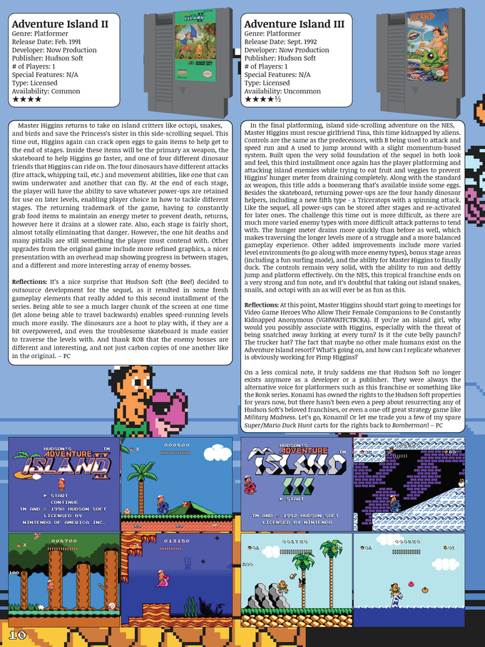 Sample page layout - most contain two games per page.