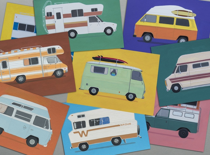 12 postcards - 12 vans
