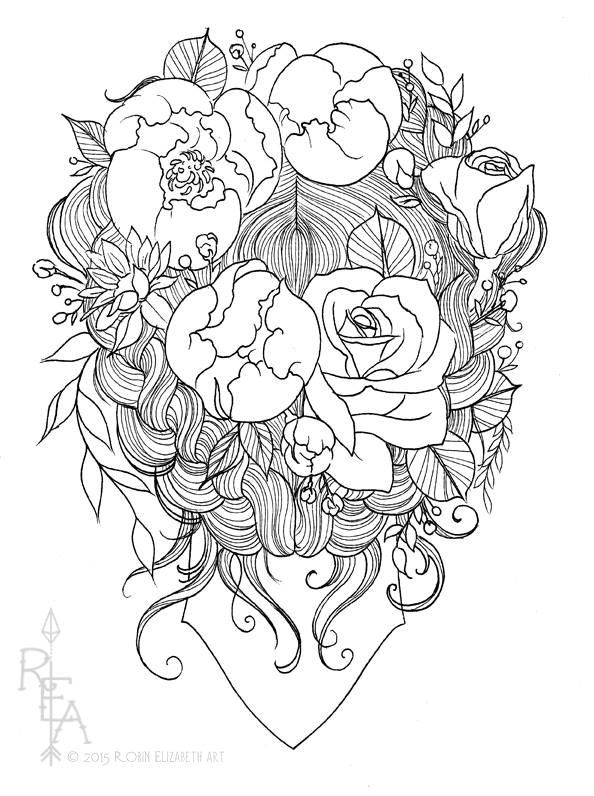 Floral tattoo a coloring book for adults by robin Free coloring books for adults by mail