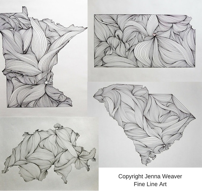 Examples of Hometown Artwork by Jenna Weaver