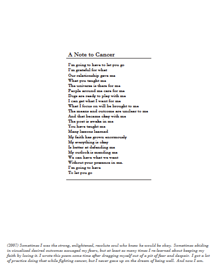 A Note To Cancer Poem