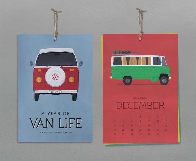 2016 vanlife illustration calendar