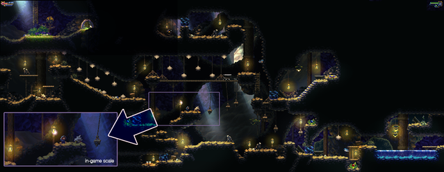 (Click to enlarge) Image of a whole room with a screenshot-snippet for comparison. You can also see the save spot area at the top left in the gif above.