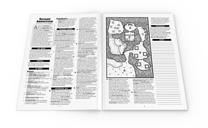 Example of one of the ten 1-sheet adventures, each spanning two pages, with any custom monster stats in the appendix