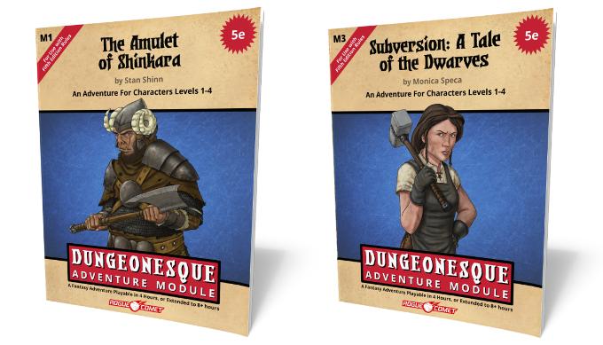 Two bonus adventures, each in the 1-sheet adventure format