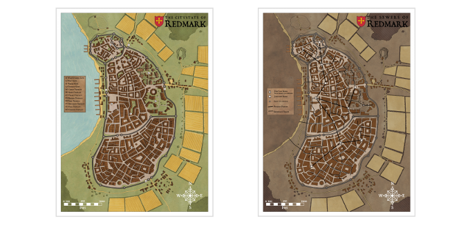 """18"""" x 24"""" City-state of Redmark and Sewers of Redmark Maps"""