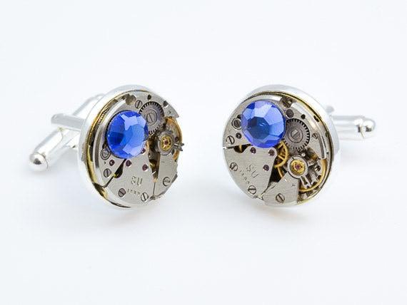Round Cufflinks with Blue Swarovski elements