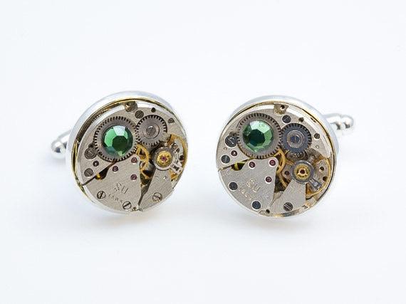 Round Cufflinks with Green Swarovski elements
