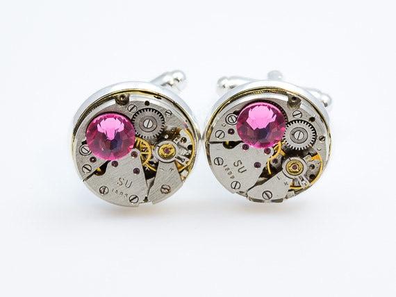Round Cufflinks with Pink Swarovski elements