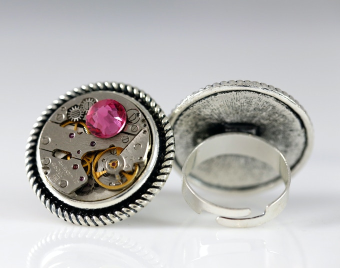 One size adjustable Ring with Swarovski elements  (20mm in diameter)