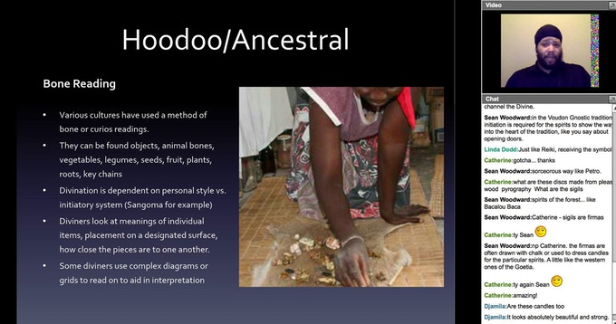 Giving a discussion on Various Divination Systems Within Afro Diasporic Traditions