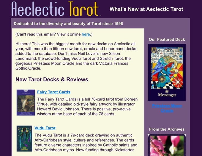 Featured on Aeclectic Tarot Homepage and Newsletter