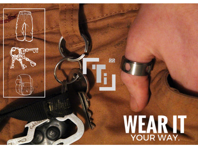 Finger, thumb, keychain, bag strap, belt loop or necklace. Endless options to carry Ti your way...