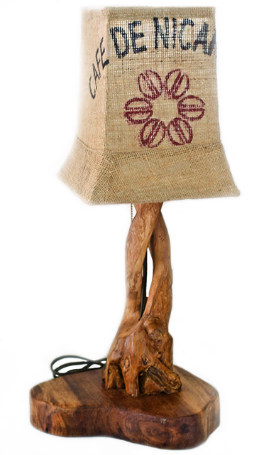 One of our products that utilizes both coffee sack and coffee wood