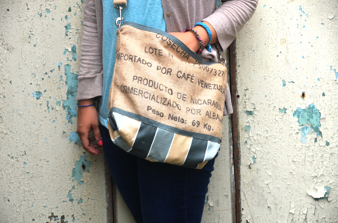 Burlap purse made from upcycled coffee sack