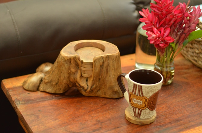 Upcycled coffee wood coasters