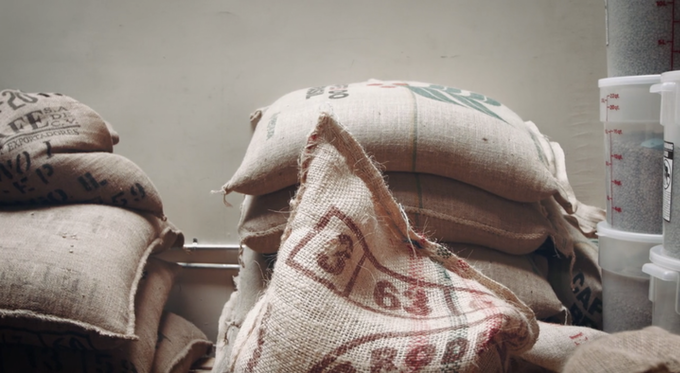 Burlap coffee sacks ready for export