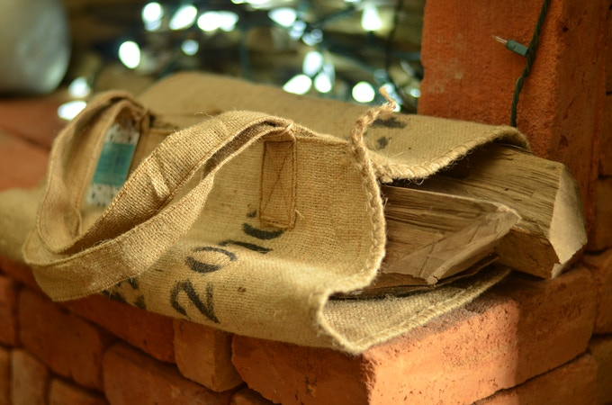 Burlap firewood carrier made from upcycled coffee sack