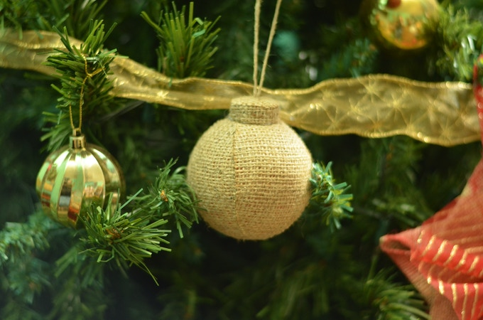 Christmas ornaments made from upcycled coffee sacks