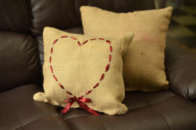 Burlap throw pillows made from upcycled coffee sacks
