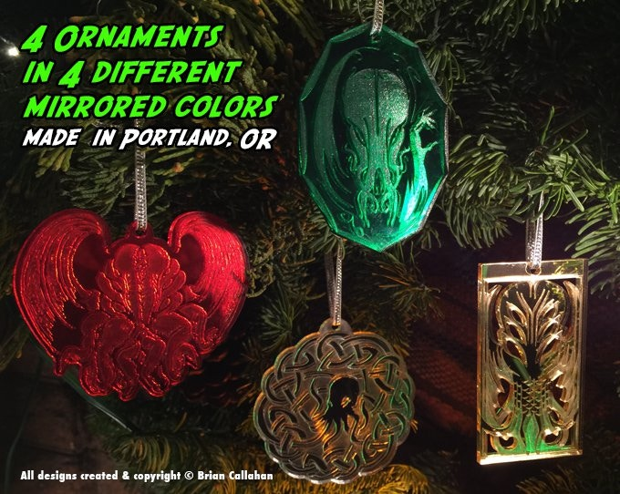 All four ornaments on our mantle wreath. These are our actual prototypes, not mere mockups. We expect the finished sets to look the same (though we might make tiny optimizations).