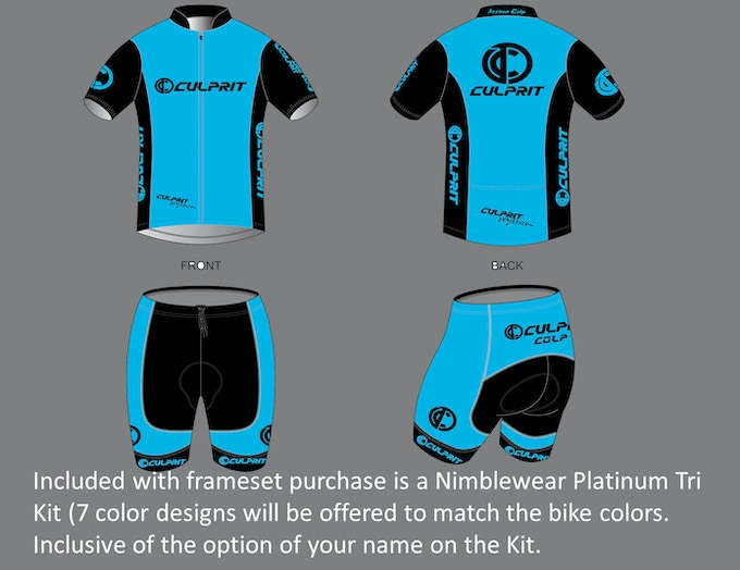 Platinum Level Cold Black Tri Kit from Nimblewear made to match your bike.