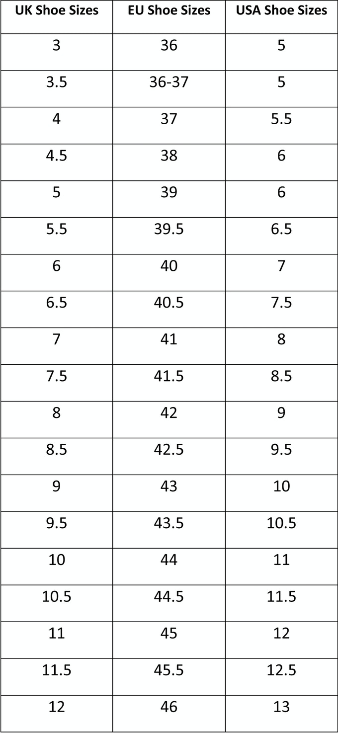 The sizing chart is intended as a general guideline only.