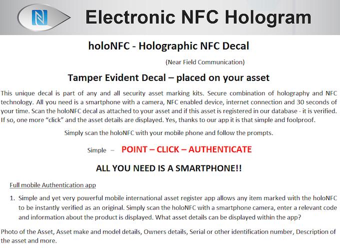 Asset Authentication Using NFC Technology
