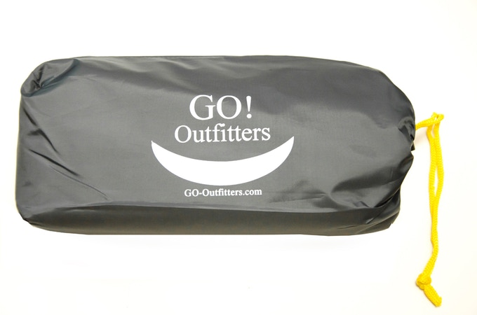 "The compact suff sack holds the tarp, guy ropes and stakes. It's packed size is 10"" X 3"" X 5"""