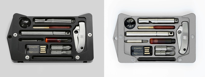 Jackfish is available in Aluminium (black) and Titanium (grey)