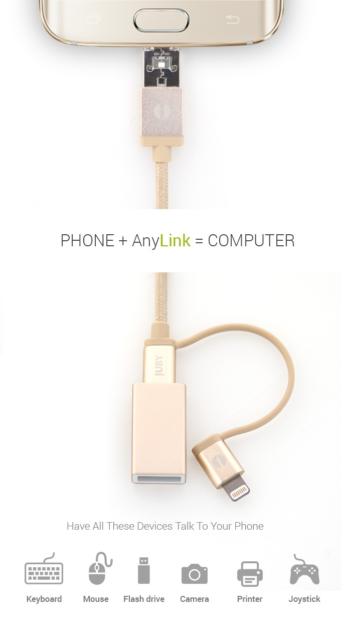 Anylink The Only Charging Cable You Ever Need By Juby Kickstarter Usb Mouse Wiring Diagram Additionally Micro Otg On Even More Devices Like Keyboard Flash Drives External Hard Camera Incl Dslr Printer Joystick Literally Any