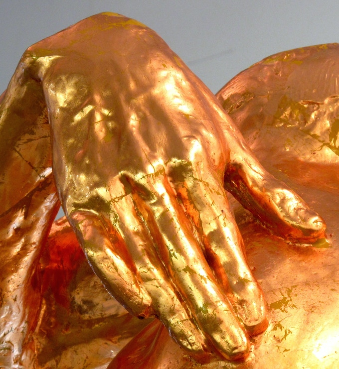 *an example of a copper-leaf hand from a previous larger-than-life sculpture*