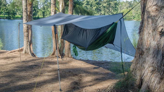 Porch Mode: Use you own hiking poles or sticks to raise one or both sides of the tarp. This mode is open and airy and creates a large living space with a great view of the outdoors!