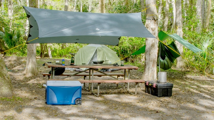 Not just for hammock camping! The Apex makes a great, portable, all-purpose camping tarp and shade canopy.