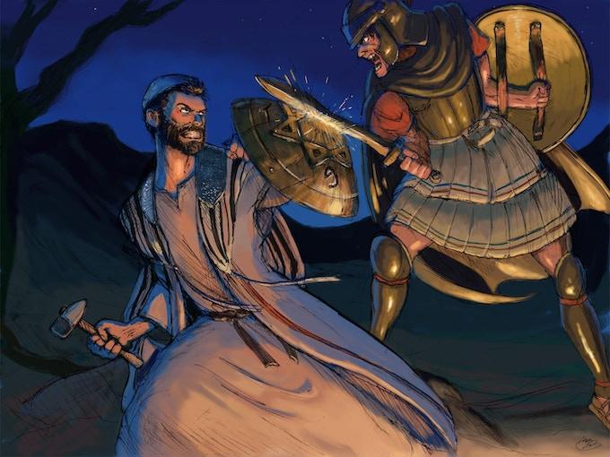 Judah Maccabee battles a Seleucid imperial soldier.