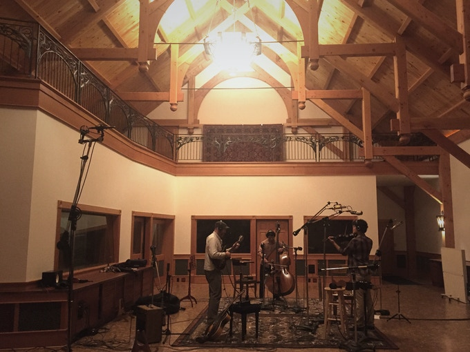 Sage Studio's cavernous timber frame main room, with naturally occurring reverb captured by remotely placed mics.