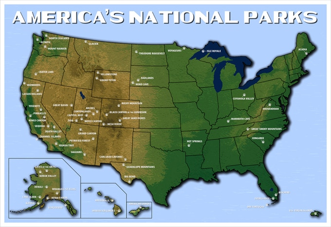 America's National Parks Map