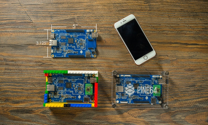 PINE A64 boards next to iPhone 6S for size comparison