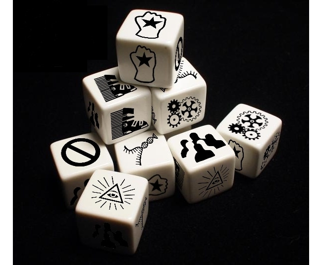 Dice prototypes: Actual product will be engraved ivory-colored plastic.