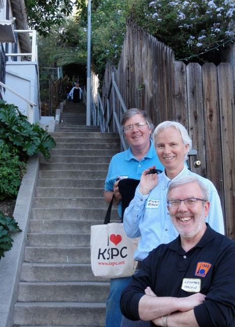 On location at the Music Box Steps, Randy Skretvedt begins the 133-climb first, with fellow L&H authors Dick Bann and Leonard Maltin