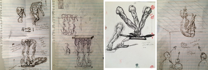 thumbnail sketches of various ideas/compositions (2010)