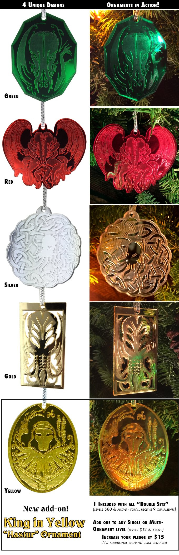 Shots of each ornament in white light, and in action with holiday lights. Level names correspond to these color/designs, or get a set with 1 Red & 1 Green, 1 Silver & 1 Gold, or all 4! PLUS New King in Yellow add-on unlocked.