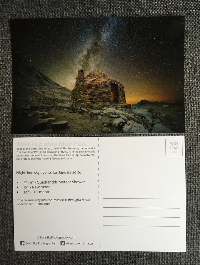 An example Dark Sky Postcard