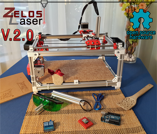 ZelosLaser Cutter in the 2. generation is Sturdy, has a compact design and presents the perfect entry for the daily hobbyist.