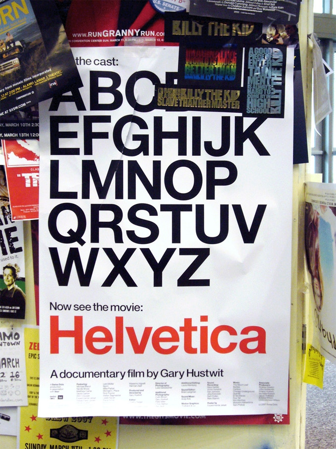 The original Helvetica poster at the 2007 World Premiere at SxSW