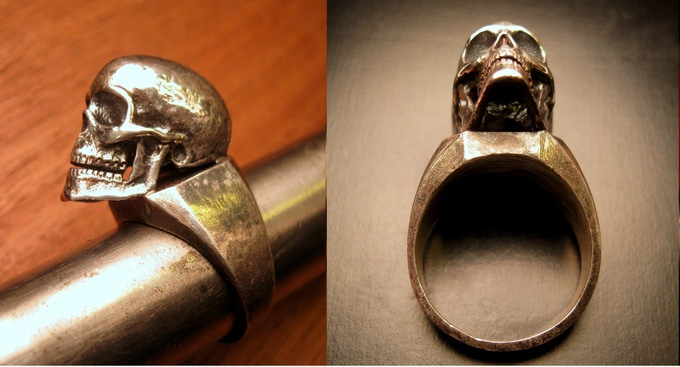 Full Skull Ring - Silver on Silver or Bronze on Silver - Reward #40