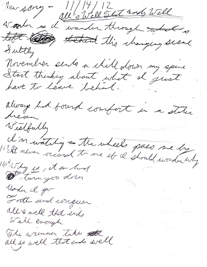 """""""All's Well That Ends Well"""" lyrics Page 1"""