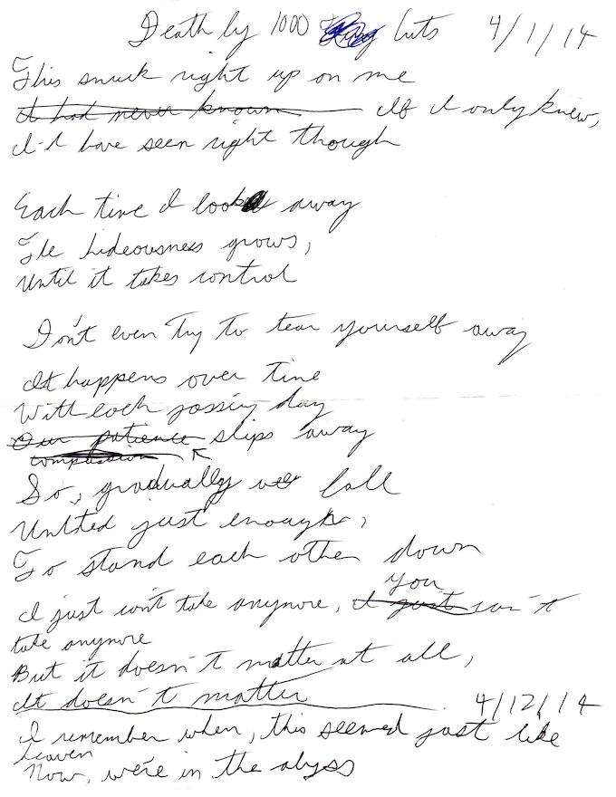 """Death By A Thousand Cuts"" Lyrics (Page 1)"